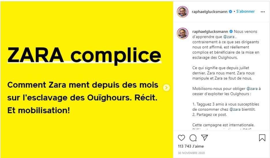 Zara Instagram Glucksmann